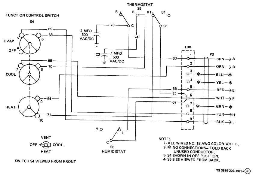 203-14 Figure 1-7. Air Conditioner Wiring Diagram (Sheet 3 of 3). 1-13
